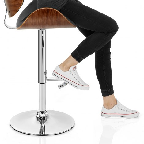 Theo Walnut Bar Stool Black Seat Image