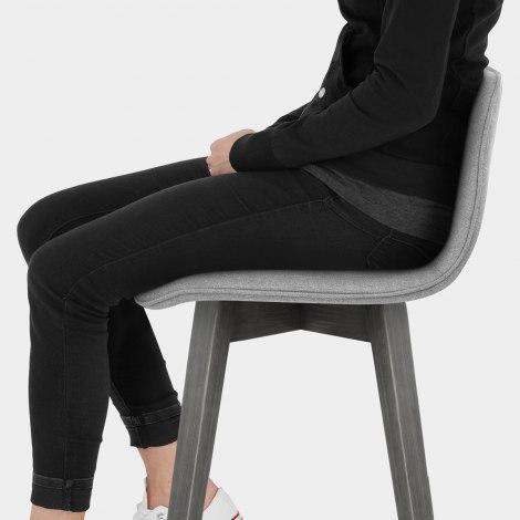 Tide Grey Wood Stool Grey Fabric Seat Image
