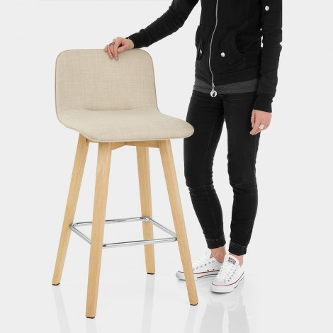 Tide Wooden Stool Beige Fabric Features Image