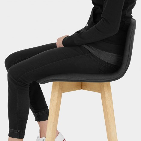 Tide Wooden Stool Black Fabric Seat Image