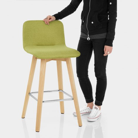 Tide Wooden Stool Green Fabric Features Image