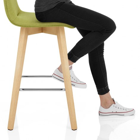 Tide Wooden Stool Green Fabric Seat Image