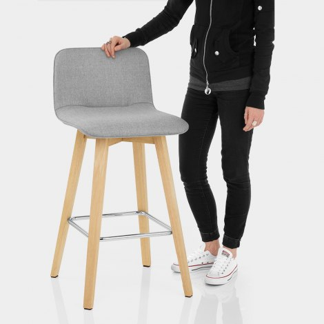 Tide Wooden Stool Grey Fabric Features Image