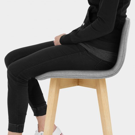 Tide Wooden Stool Grey Fabric Seat Image