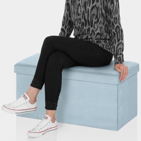 Tiffany Foldable Ottoman Blue Velvet Seat Image