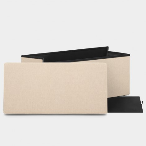Tiffany Foldable Ottoman Cream Fabric Features Image