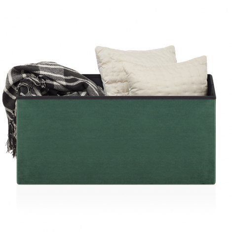 Tiffany Foldable Ottoman Green Velvet Seat Image