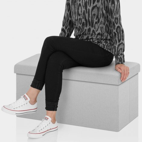 Tiffany Foldable Ottoman Grey Fabric Seat Image