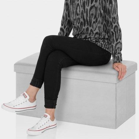 Tiffany Foldable Ottoman Grey Velvet Seat Image
