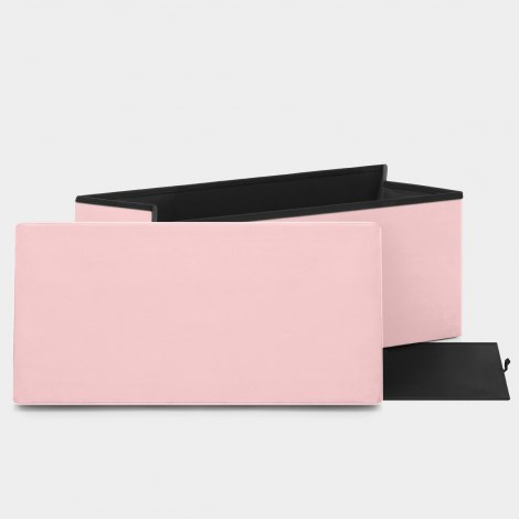Tiffany Foldable Ottoman Pink Velvet Features Image