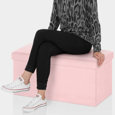 Tiffany Foldable Ottoman Pink Velvet Seat Image