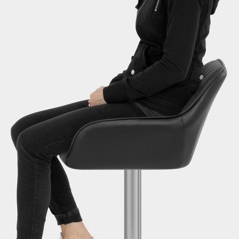 Tokyo Real Leather Brushed Stool Black Seat Image