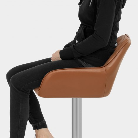 Tokyo Real Leather Brushed Stool Brown Seat Image