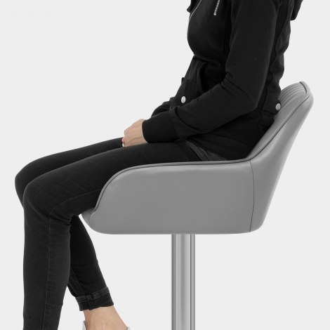 Tokyo Real Leather Brushed Stool Grey Seat Image