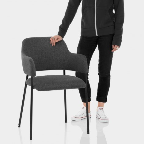 Trent Dining Chair Charcoal Fabric Features Image