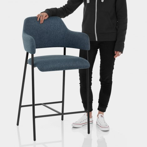 Trent Bar Stool Blue Fabric Features Image