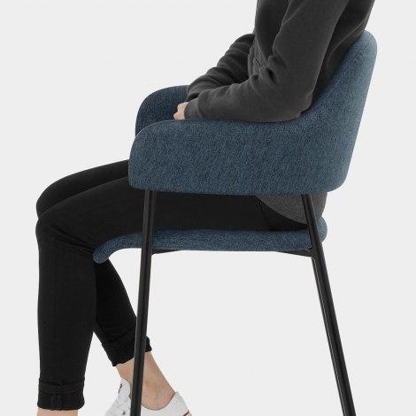 Trent Bar Stool Blue Fabric Seat Image