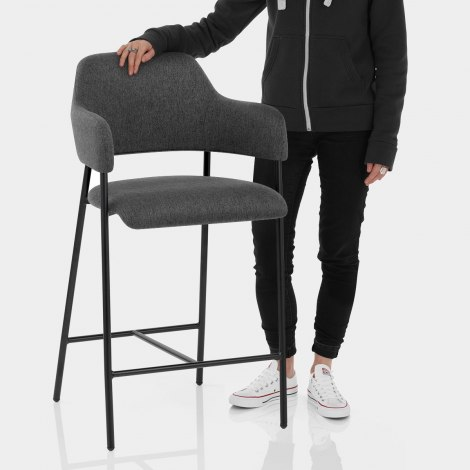 Trent Bar Stool Charcoal Fabric Features Image