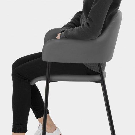 Trent Bar Stool Grey Leather Seat Image