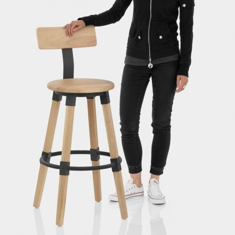 Troy Wooden Bar Stool Features Image