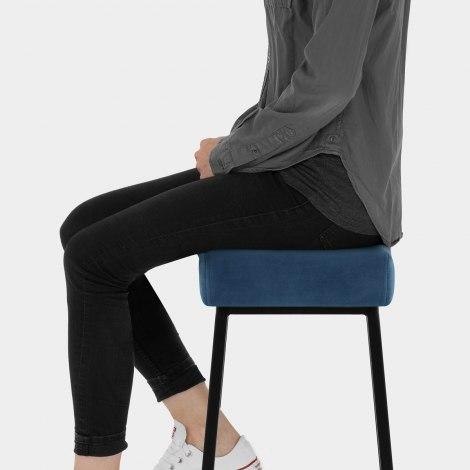 Uno Bar Stool Blue Velvet Seat Image