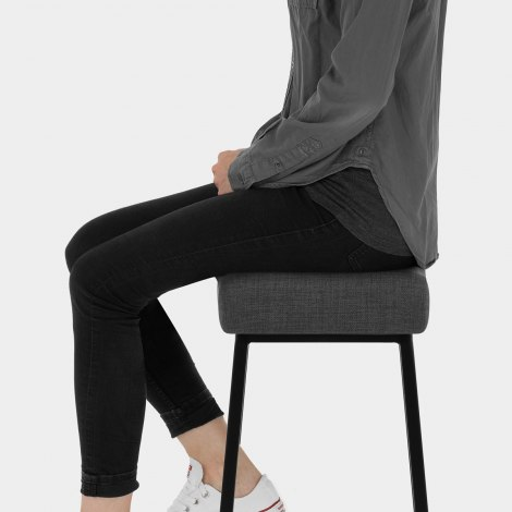 Uno Bar Stool Charcoal Fabric Seat Image