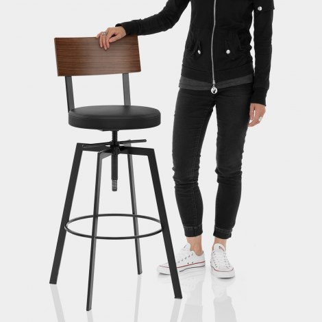 Urban Walnut Industrial Stool Black Features Image
