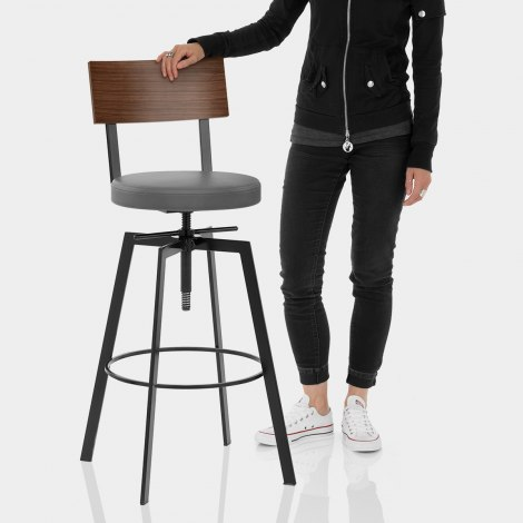 Urban Walnut Industrial Stool Grey Features Image