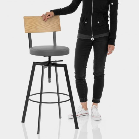 Urban Oak Industrial Stool Grey Features Image