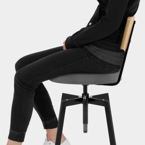 Urban Oak Industrial Stool Grey Seat Image