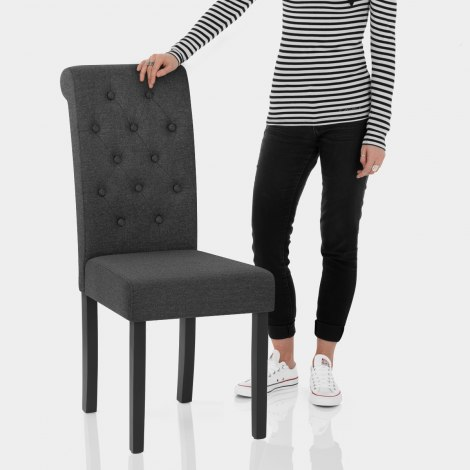 Utah Dining Chair Charcoal Fabric Features Image