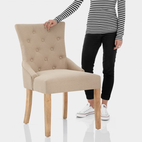 Verdi Chair Oak & Beige Features Image