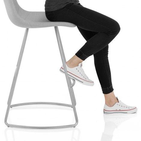 Vibe Brushed Stool Light Grey Fabric Seat Image