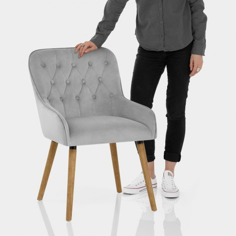Vienna Dining Chair Grey Velvet Features Image