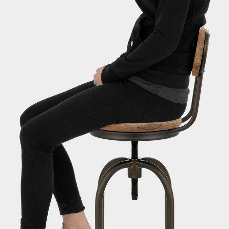 Vintage Swivel Stool Light Wood Seat Image