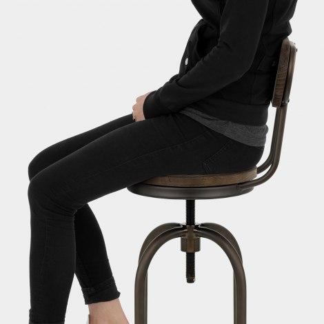 Vintage Swivel Stool Dark Wood Seat Image