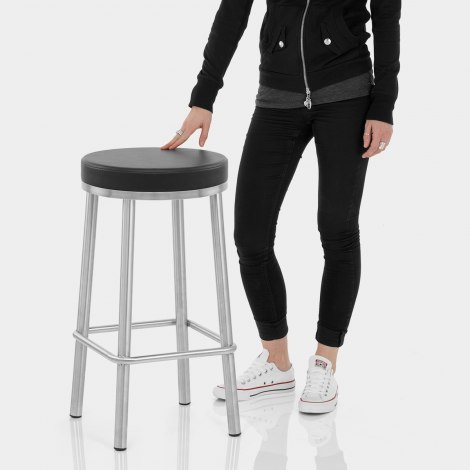 Vision Brushed Steel Stool Black Features Image