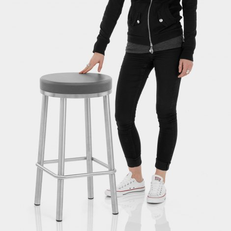 Vision Brushed Steel Stool Grey Features Image