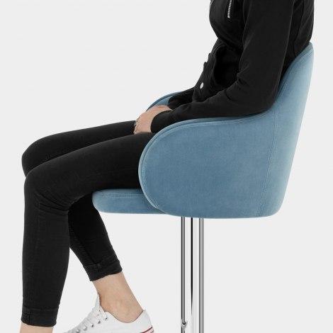 Vista Bar Stool Blue Velvet Seat Image