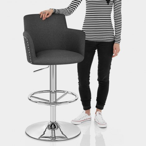 Vogue Bar Stool Charcoal Fabric Features Image
