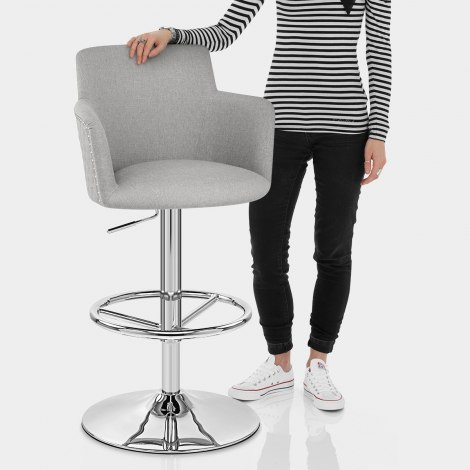 Vogue Bar Stool Grey Fabric Features Image
