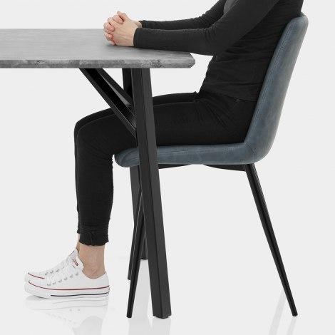 Warwick Dining Set Concrete & Blue Seat Image
