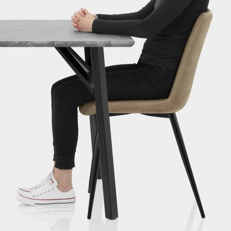 Warwick Dining Set Concrete & Brown Seat Image