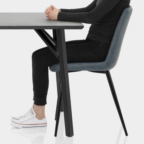 Warwick Dining Set Grey Wood & Blue Seat Image