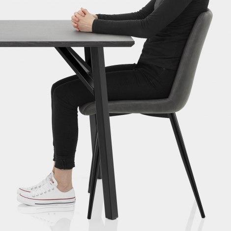 Warwick Dining Set Grey Wood & Charcoal Seat Image