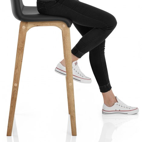 Wave Bar Stool Black Seat Image