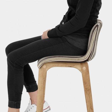 Wave Bar Stool Stripe Fabric Seat Image