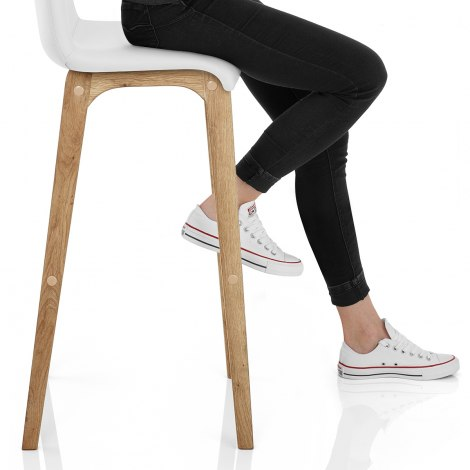 Wave Bar Stool White Seat Image