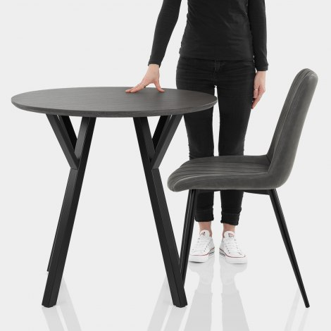 Wessex Dining Set Grey Wood & Charcoal Features Image