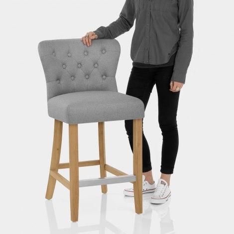 Windsor Bar Stool Grey Fabric Features Image
